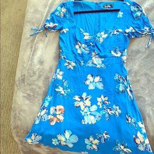 Lulus blue floral mini dress